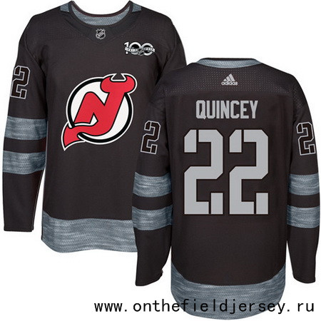 Men's New Jersey Devils #22 Kyle Quincey Black 100th Anniversary Stitched NHL 2017 adidas Hockey Jersey
