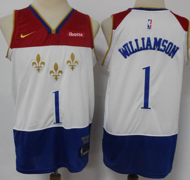 Men's New Orleans Pelicans #1 Zion Williamson White 2021 Nike City Edition Swingman Stitched NBA Jersey With the New Sponsor Logo