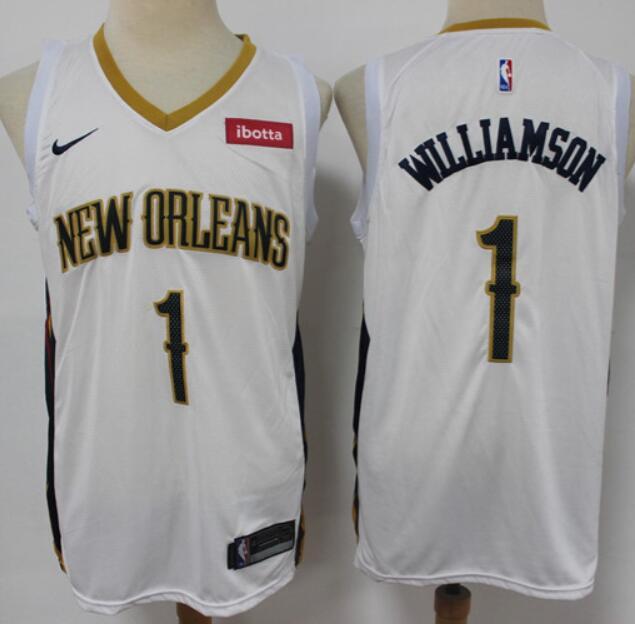 Men's New Orleans Pelicans #1 Zion Williamson White Basketball Swingman Association Edition Jersey
