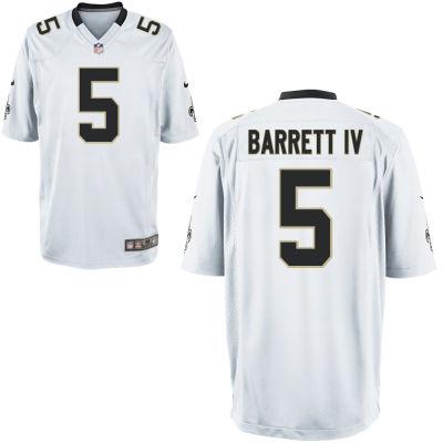 Men's New Orleans Saints #5 J. T. Barrett IV White Road Stitched NFL Nike Game Jersey