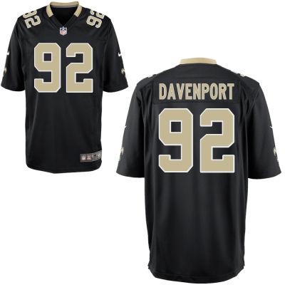 Men's New Orleans Saints #92 Marcus Davenport Black Team Color Stitched NFL Nike Game Jersey