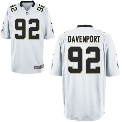Men's New Orleans Saints #92 Marcus Davenport White Road Stitched NFL Nike Game Jersey