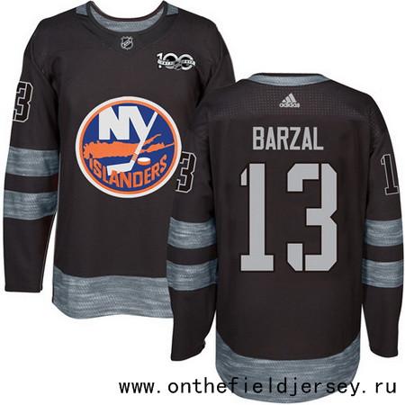 Men's New York Islanders #13 Mathew Barzal Black 100th Anniversary Stitched NHL 2017 adidas Hockey Jersey