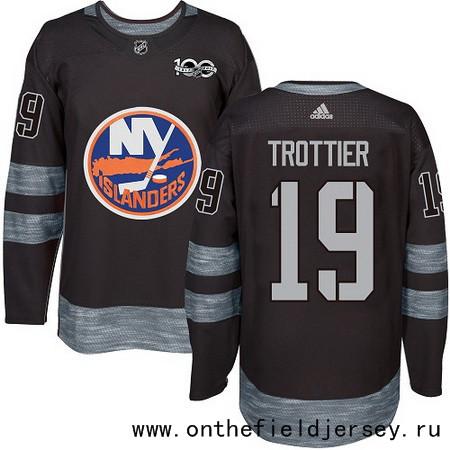 Men's New York Islanders #19 Bryan Trottier Black 100th Anniversary Stitched NHL 2017 adidas Hockey Jersey