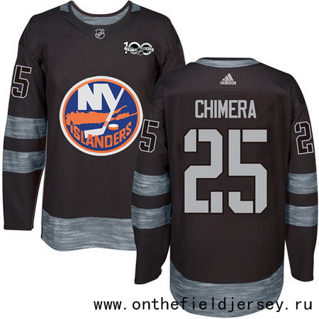 Men's New York Islanders #25 Jason Chimera Black 100th Anniversary Stitched NHL 2017 adidas Hockey Jersey