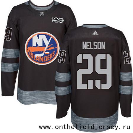 Men's New York Islanders #29 Brock Nelson Black 100th Anniversary Stitched NHL 2017 adidas Hockey Jersey