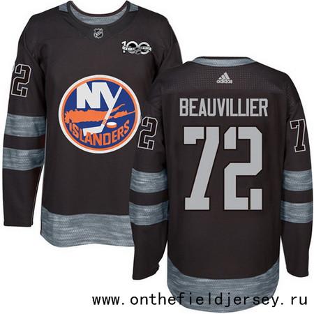 Men's New York Islanders #72 Anthony Beauvillier Black 100th Anniversary Stitched NHL 2017 adidas Hockey Jersey