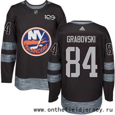 Men's New York Islanders #84 Mikhail Grabovski Black 100th Anniversary Stitched NHL 2017 adidas Hockey Jersey