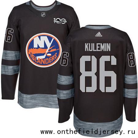 Men's New York Islanders #86 Nikolay Kulemin Black 100th Anniversary Stitched NHL 2017 adidas Hockey Jersey