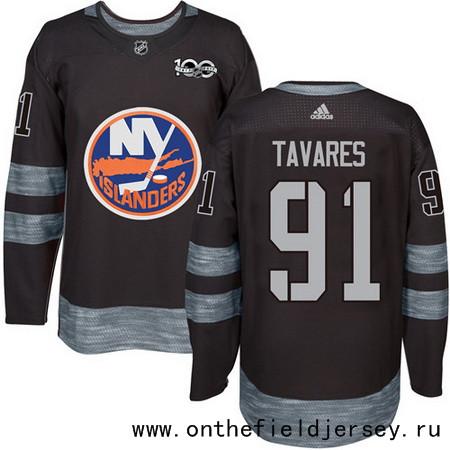 Men's New York Islanders #91 John Tavares Black 100th Anniversary Stitched NHL 2017 adidas Hockey Jersey
