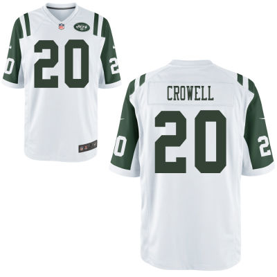 Men's New York Jets #20 Isaiah Crowell White Road Stitched NFL Nike Game Jersey
