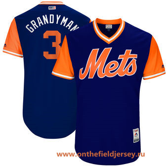 Men's New York Mets Curtis Granderson -Grandyman- Majestic Royal 2017 Little League World Series Players Weekend Stitched Nickname Jersey