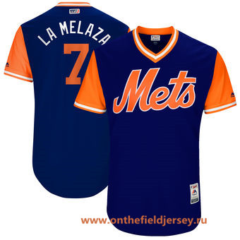Men's New York Mets Jose Reyes -La Melaza- Majestic Royal 2017 Little League World Series Players Weekend Stitched Nickname Jersey