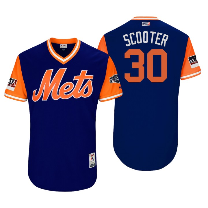 Men's New York Mets Little League Classic Patch Michael Conforto #30 Royal 2018 LLWS Players Weekend Scooter Jersey