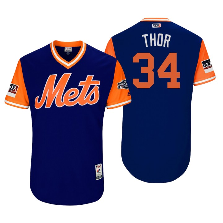 Men's New York Mets Little League Classic Patch Noah Syndergaard #34 Royal 2018 LLWS Players Weekend Thor Jersey