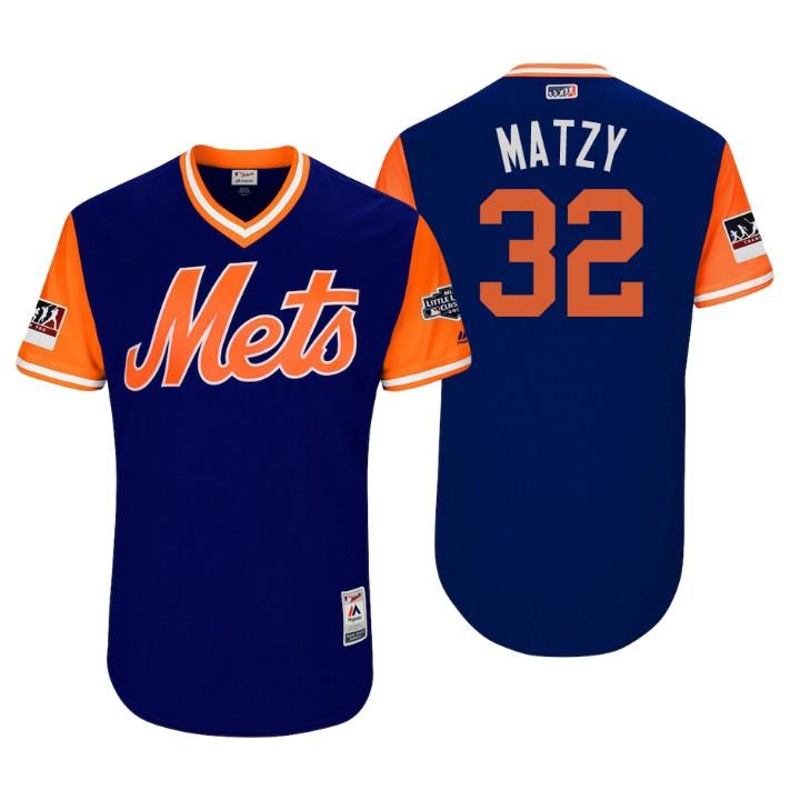 Men's New York Mets Little League Classic Patch Steven Matz #32 Royal 2018 LLWS Players Weekend Matzy Jersey