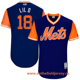 Men's New York Mets Travis d'Arnaud -Lil D- Majestic Royal 2017 Little League World Series Players Weekend Stitched Nickname Jersey