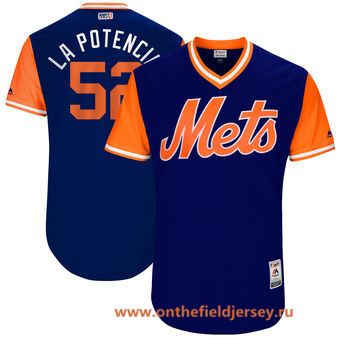 Men's New York Mets Yoenis Cespedes -La Potencia- Majestic Royal 2017 Little League World Series Players Weekend Stitched Nickname Jersey