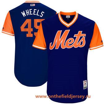 Men's New York Mets Zack Wheeler -Wheels- Majestic Royal 2017 Little League World Series Players Weekend Stitched Nickname Jersey