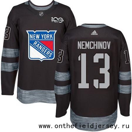Men's New York Rangers #13 Sergei Nemchinov Black 100th Anniversary Stitched NHL 2017 adidas Hockey Jersey