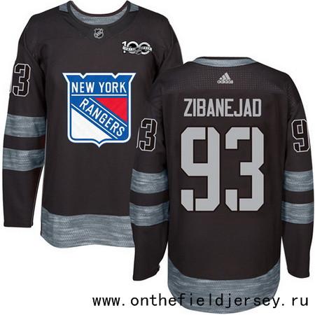 Men's New York Rangers #93 Mika Zibanejad Black 100th Anniversary Stitched NHL 2017 adidas Hockey Jersey