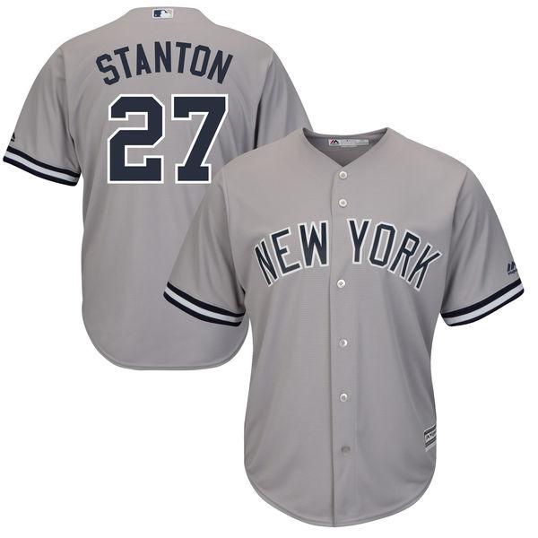 Men's New York Yankees #27 Giancarlo Stanton Majestic Gray Cool Base Replica Player Jersey