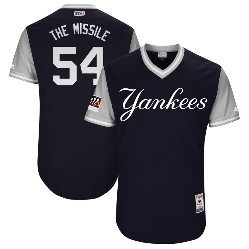 Men's New York Yankees Aroldis Chapman The Missile Majestic Navy-Gray 2018 Players' Weekend Authentic Jersey