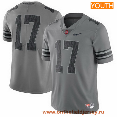 Youth Ohio State Buckeyes Custom College Football Nike Limited Jersey - 2017 Gray with Black Camo