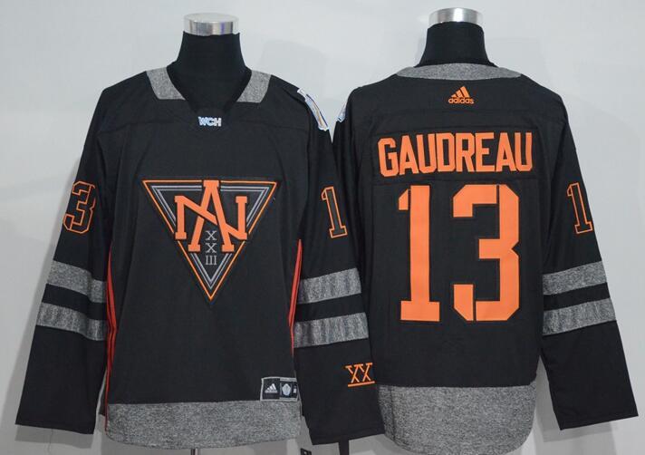 Men's North America Hockey #13 Johnny Gaudreau Black 2016 World Cup of Hockey Stitched adidas WCH Game Jersey