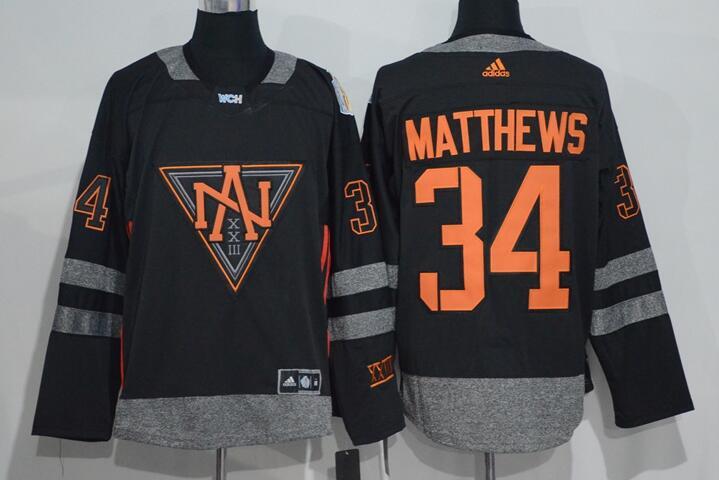 Men's North America Hockey #34 Auston Matthews Black 2016 World Cup of Hockey Stitched adidas WCH Game Jersey