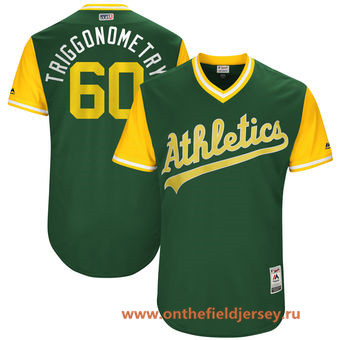 Men's Oakland Athletics Andrew Triggs -Triggonometry- Majestic Green 2017 Little League World Series Players Weekend Stitched Nickname Jersey