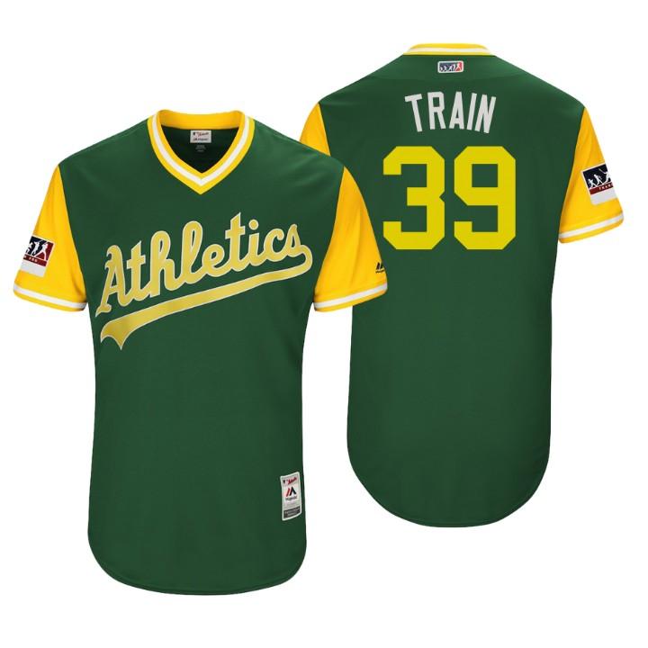 Men's Oakland Athletics Authentic Blake Treinen #39 Green 2018 LLWS Players Weekend Train Jersey