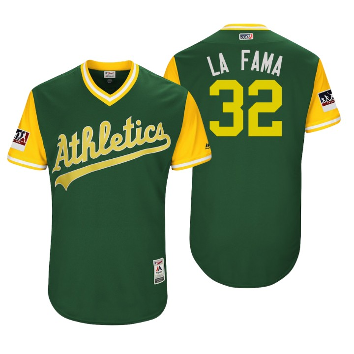 Men's Oakland Athletics Authentic Jeurys Familia #32 Green 2018 LLWS Players Weekend La Fama Jersey