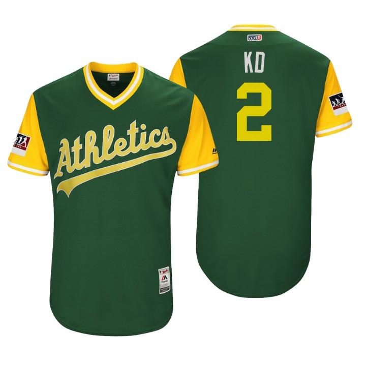 Men's Oakland Athletics Authentic Khris Davis #2 Green 2018 LLWS Players Weekend KD Jersey