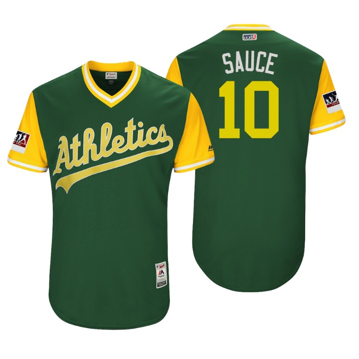 Men's Oakland Athletics Authentic Marcus Semien #10 Green 2018 LLWS Players Weekend Sauce Jersey