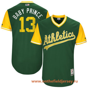 Men's Oakland Athletics Bruce Maxwell -Baby Prince- Majestic Green 2017 Little League World Series Players Weekend Stitched Nickname Jersey