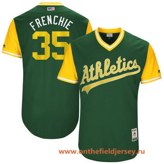 Men's Oakland Athletics Daniel Coulombe -Frenchie- Majestic Green 2017 Little League World Series Players Weekend Stitched Nickname Jersey