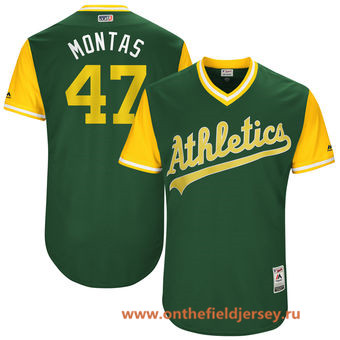 Men's Oakland Athletics Frankie Montas -Montas- Majestic Green 2017 Little League World Series Players Weekend Stitched Nickname Jersey