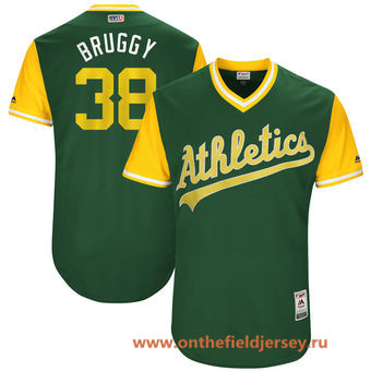 Men's Oakland Athletics Jaycob Brugman -Bruggy- Majestic Green 2017 Little League World Series Players Weekend Stitched Nickname Jersey