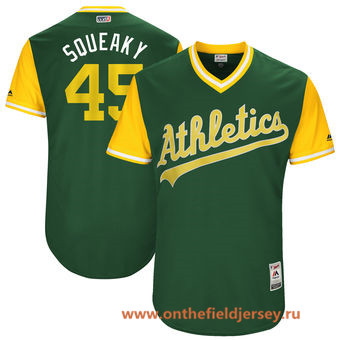 Men's Oakland Athletics Jharel Cotton -Squeaky- Majestic Green 2017 Little League World Series Players Weekend Stitched Nickname Jersey