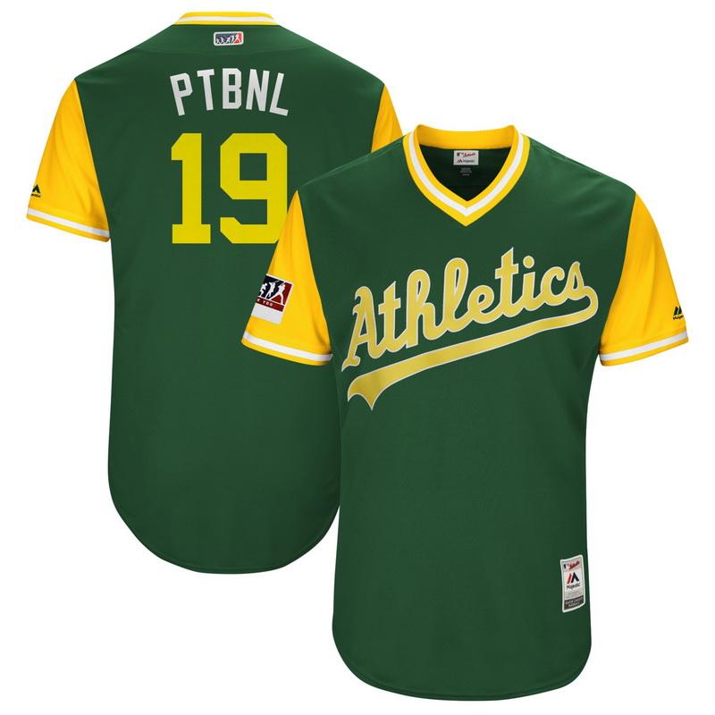 Men's Oakland Athletics Josh Phegley PTBNL Majestic Green-Yellow 2018 Players' Weekend Authentic Jersey