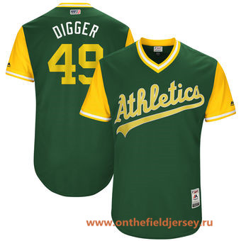 Men's Oakland Athletics Kendall Graveman -Digger- Majestic Green 2017 Little League World Series Players Weekend Stitched Nickname Jersey