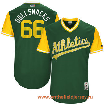 Men's Oakland Athletics Ryan Dull -Dullsnacks- Majestic Green 2017 Little League World Series Players Weekend Stitched Nickname Jersey