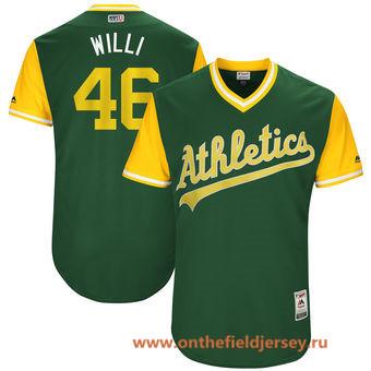 Men's Oakland Athletics Santiago Casilla -Willi- Majestic Green 2017 Little League World Series Players Weekend Stitched Nickname Jersey