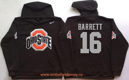 Men's Ohio State Buckeyes #16 J.T. Barrett Nike Black Stitched NCAA College Football Hoodie