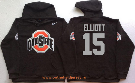 Men's Ohio State Buckeyes #15 Ezekiel Elliott Nike Black Stitched NCAA College Football Hoodie