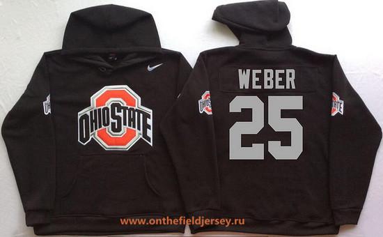 Men's Ohio State Buckeyes #25 Mike Weber Nike Black Stitched NCAA College Football Hoodie