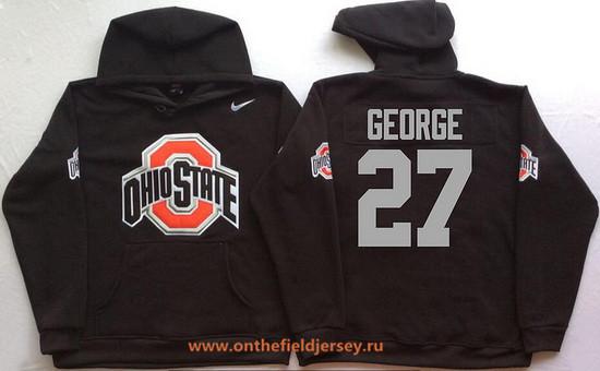 Men's Ohio State Buckeyes #27 Eddie George Nike Black Stitched NCAA College Football Hoodie