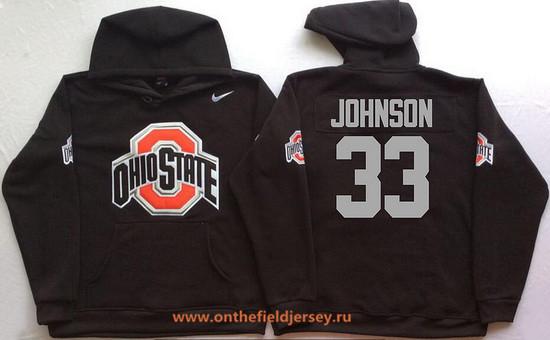 Men's Ohio State Buckeyes #33 Pete Johnson Nike Black Stitched NCAA College Football Hoodie
