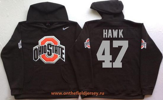 Men's Ohio State Buckeyes #47 A.J. Hawk Nike Black Stitched NCAA College Football Hoodie